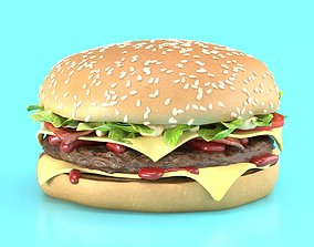 3D model ketchup Burger