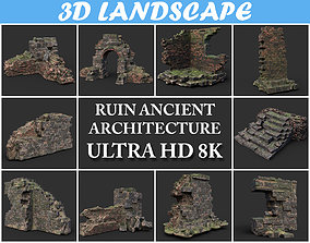3D Low poly Ruin Medieval Construction Pack 200710