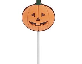 Pumpkin shaped candy on a stick 2 3D model