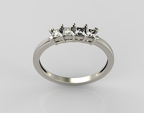 Ring with diamonds gold jewel-ring 3D print model