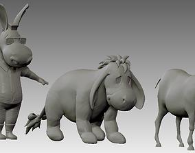 3D printable model cartoon donkey