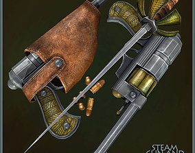 Animated Steam Gun and Sword 3D model