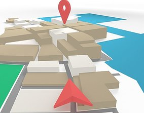 3D model Low Poly GPS tracking with schematic building