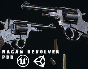realtime Nagan revolver - Model and Textures PBR - Low 2
