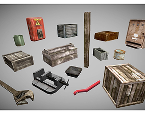 low poly garage objects collection 2 3D model