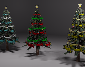 3D model low-poly Christmas tree with more textures