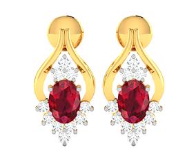 gold drops Women earrings 3dm render detail