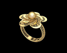 3D print model Flower shaped ring with pearl