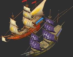 3D asset Old sailing ships