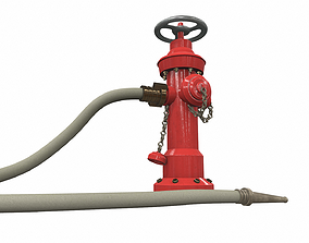 Fire hydrant fire hose 3D