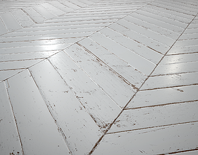 3D model White Painted chevron parquet - PBR textures
