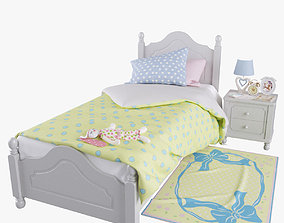 Kids Provence Bed with decor 3D model photo