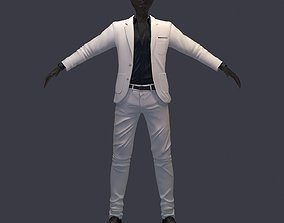 3D model avatar cost shirt pants white black