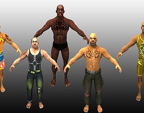 5 Wrestling Characters Pack 3D model