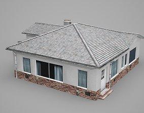 Modern white-walled dwelling bungalow 3D model