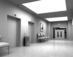 Hallway With Elevators White 3D model