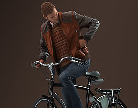 00058Jeffrey001 Guy With Bicycle Pre Posed 3D Model