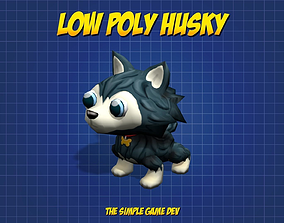 Cute Low Poly Husky 3D asset