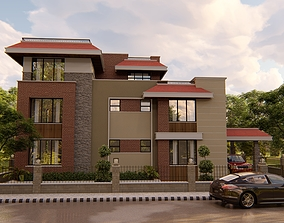 mixed modern with traditional residence 3D