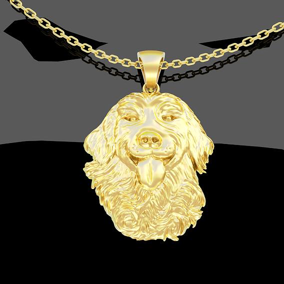 Dog Labrador Pendant jewelry Gold 3D print model