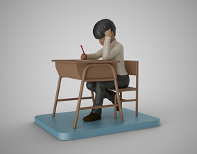 Little Boy Writing 3D print model