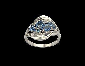 Women ring with gems 3dm stl wedding