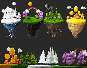 low-poly Floating Islands winter summer Spring Autumn 2