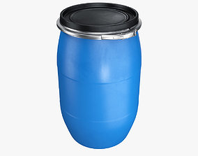 Plastic barrel with lid and clamp 3D model
