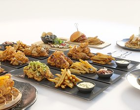 3D Fried chicken meal collection