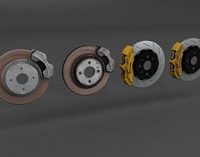 Basic and Race Brake System 3D model game-ready