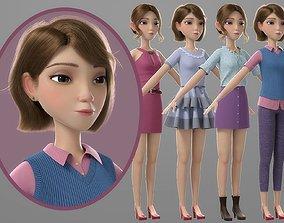 Cartoon Girl 3D PBR manager