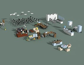 Low Poly Office Interior Set 3D model