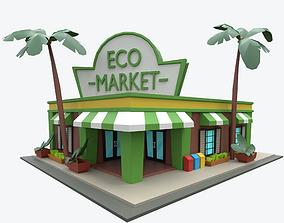 3D asset Cartoon Eco Market