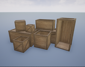 3D model Low Poly Wooden Crates