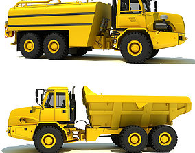 Construction Dump Truck and Water Wagon 3D