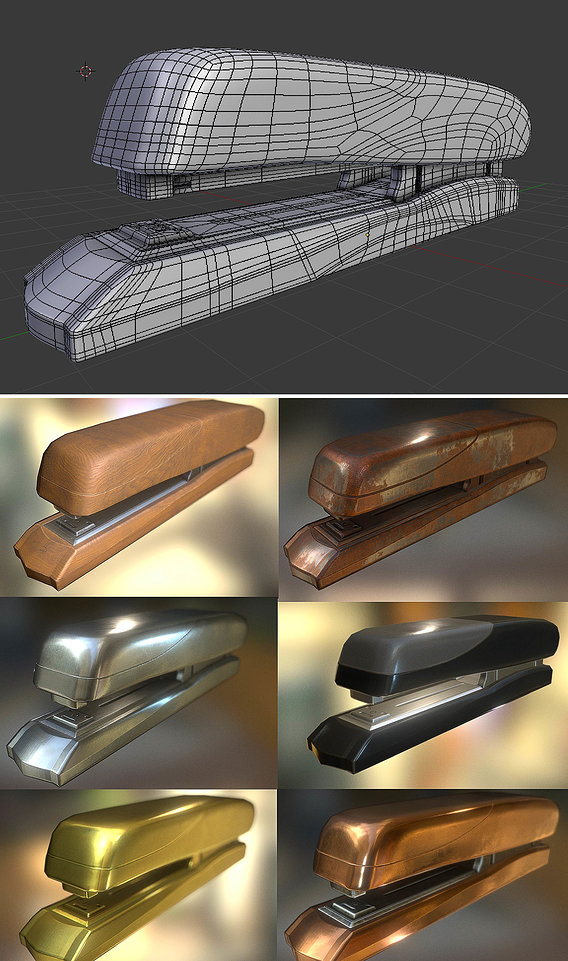 Stapler High and Low-Poly