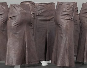 3D model Long Brown Leather Skirt