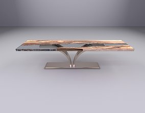 3D model rigged Table with glass and wood mixed