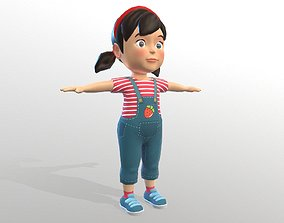 Cartoon Style Children Girl 3D asset