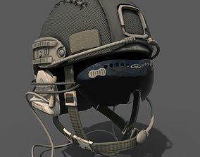 Military helmet soldier scifi 3D asset low-poly