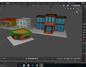 low poly based buildings for games 3D model