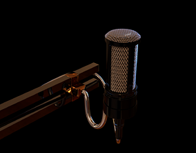 audio wired microphone with stand 3D model