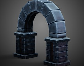 Stone Wall Door Hand Paint 3D model