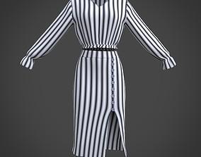 DRESS - Ruffled blouse and slit pencil skirt 3D