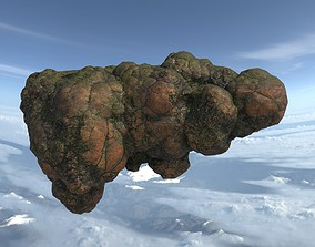 Low poly Brown Floating Island Mossy Rock 06 3D model