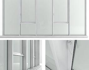 Panoramic window with sash window and radiator 3D