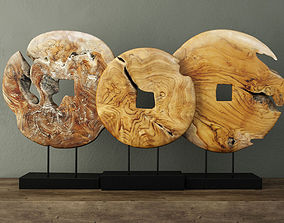 Teak Wood Table Top Decoration teak 3D model