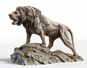 Lion standing on a stone PBR Lowpoly 3D model