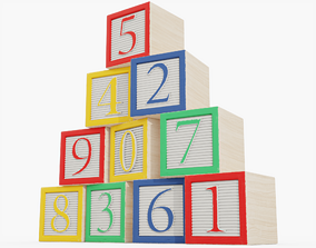 Wooden Number Blocks 3D model