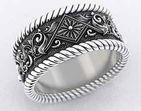 3D printable model Engagement ring with patterns and 1